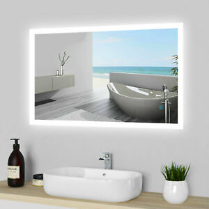 LED Illuminated Bathroom Mirror Lights Touch Switch Demister Pad Wall Hang IP44