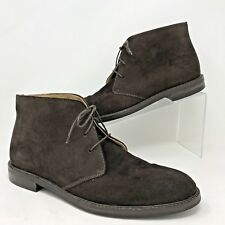 Polo Ralph Lauren Brown Suede Leather Desert Chukka Boots Mens-9 D-Made in Italy