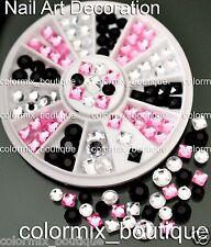#R54  Fashion Nail Art Tips Decoration 3 Color Square Round Glitter Rhinestones