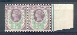 SG198 1 1/2d Purple and Green Unmounted mint Marginal Pair