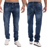 Hommes Slim Tapered Jeans Jeans bleu foncé pantalon étirer