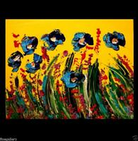 BLUE POPPIES  Original Oil Painting on canvas IMPRESSIONIST BY MARK KAZAV