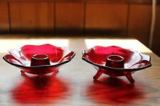 (2) Vtg Fenton Ruby Red Amberina 3 Footed Lotus Glass Candle Holders - FREE SHIP