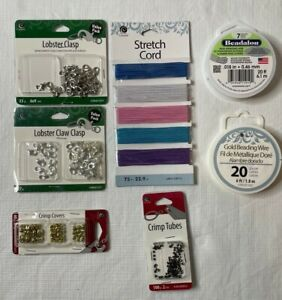 Jewelry Making Bundle Stretch Cord Beading Wire Lobster Clasps Crimp Beads Tubes