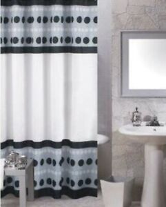 Carnation Metro Black Dots Shower Curtain Gray White (No Hooks included)