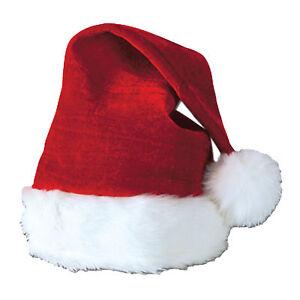 Santa Claus Velvet Plush Trim Hat Red & White Christmas One Size Beistle