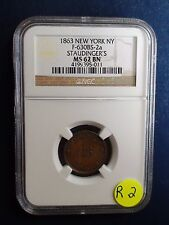1863 New York Ny Ngc Ms62 Bn Staudinger'S Token F-630Bs-2a Priced To Sell Now!