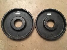 Ivanko TWO 5lb plates Olympic weight plates pounds gym vintage