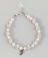 Personalized Sterling Silver Script Initial Beaded Bracelet with Swarovski Pink