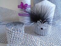 RUBAN GALON STRASS argenté décoration mariage fêtes gâteaux table noel 1mx4cm