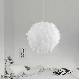Feder LED Deckenlampe Pendelleuchte Schirm Lampe Weiß Lichter Hängeleuchte