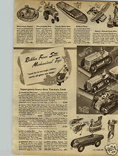 1947 PAPER AD Mechanical Toy Zippo Monkey Sparking Tank Steel Tractor Catepillar