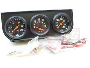 """2"""" Black Oil Pressure Water Volt Triple 3 Gauge Set Kit Panel HotRod Chevy Ford"""