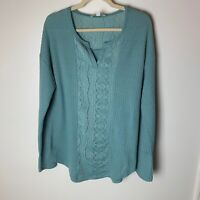 Suzanne Betro Weekend Women's Top Size Large Waffle Knit Lace Detail Long Sleeve