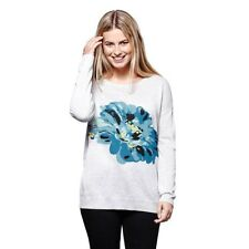 9c85881c54 Yumi Ladies Flower Print Jumper Pale Grey Size 16 - 18 (l) (ref