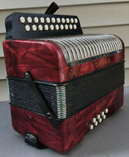 HOHNER ERICA 2-Row 8-Bass 21-Treble Button G/C Red Diatonic Accordion Germany