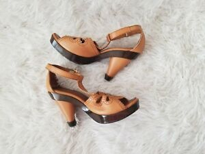 Chie Mihara Leather Strappy  Peep Toe High Heels, Tan, Sz.39