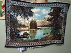 """37""""x52"""" Mountain Lake Trees Scene Wall Hanging Tapestry. Imperfect."""