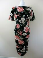 Fever Fish fitted dress size 14 stretch black large pink roses 1950s style