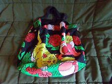 Vintage Seed Beaded Tote Bag Cat Mosaic Shopper Purse Book Bag 60s 70s Boho