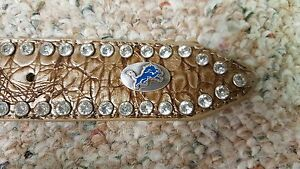 Detroit Lions Beige Womens Leather Belt Rhinestone Glitz Bling M L XL XXL NFL