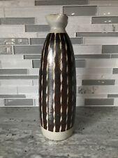 OMC Otagiri Large Sake Bottle Grey with Brown Stripes Pottery Japan