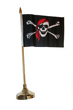 """PIRATE SKULL WITH  BANDANA 4""""X6""""  inch stick flag with GOLD STAND on 10"""" plastic"""