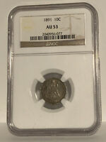 1891 Seated Liberty Dime NGC AU53