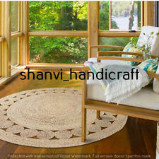 Braided Handmade Indian Natural Jute Rug Home Decor Round 4 Feet Area Rug Carpet