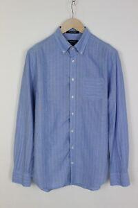 Gant Pinstripe Oxford Fitted Homme Grand Mince Décontracté Haut Bleu 33284_GS