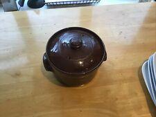 Vintage Earthenware Lidded Cooking Stock pot Brown Glazed Pot
