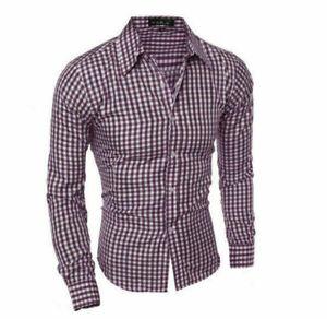 Luxury Stylish Mens Casual Shirts Long Sleeve Check Slim Fit Dress Shirts Tops