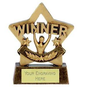 Mini Star Winner Trophy Award (8cm) free engraving & p&p