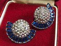 Beautiful Art Deco Style Statement Geometric Crystal Blue Stud Earrings