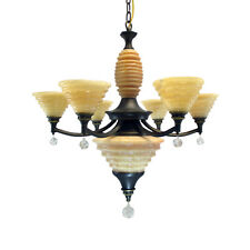 Kalco Barringer 6 Light Chandelier With Crystal Accent, Satin Bronze Finish