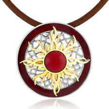 20 Inch Leather Cord Circle Sun Pendant with 2.5 Inch Extender