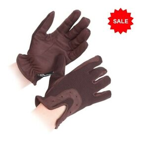 SALE £4.95 Shires Breathable All Day Riding Gloves Grip Brown Sz 7.5 - 8 (XL)