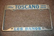Rare Los Banos CA Lincoln Ford Mercury Metal Embossed License Plate Frame Holder