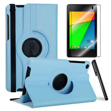 SkyBlue 360 Rotating Case+Clear Screen Protector+Stylus for Google Nexus 7 2nd.