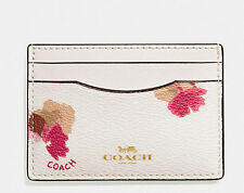NWT Coach Flower Flat Card Case Credit Card Holder F86925 Chalk Multi COACH GOLD