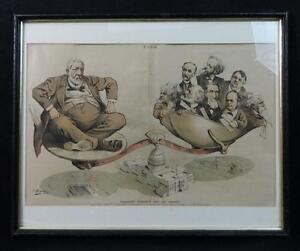 Antique Political Print by Keppler of President Harrison Whimsical
