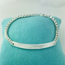 "9"" Extra Large Mens Tiffany & Co Silver Venetian ID Box Link I.D. Bracelet"