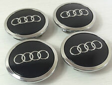 4 Pcs Black Chrome Logo Center Wheel Hub Cap 69mm Fits Audi A3 A4 A6 A8 S4 V