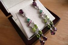 RHODOLITE GARNET, EMERALD PERIDOT RUBY 925 STERLING SILVER DROP DANGLE EARRINGS
