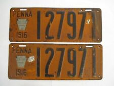 PAIR 1916 Pennsylvania WITH METAL TABS  License Plate Tag