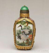 """Nice Old Painted """"Cranes"""" Carved Golden Color Enamel Glaze Snuff Bottle"""