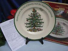 "SPODE Xmas Tree 10.5"" Sentiment Plate Dish Wishing Joy of Family Friends NIB Crt"