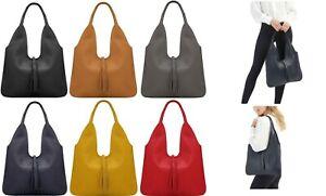 Handbag Bliss Grained/Textured Italian Leather Slouch Shoulder Bag With Tassel