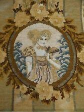 Vtg Needlepoint Petit Point 1800's Oval Portrait of Lady holding Fan Canvas
