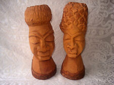 VNTG JAMAICAN AFRICAN AMERICA MAN / WOMAN HAND CARVED WOOD BUST/HEAD SCULPTURES